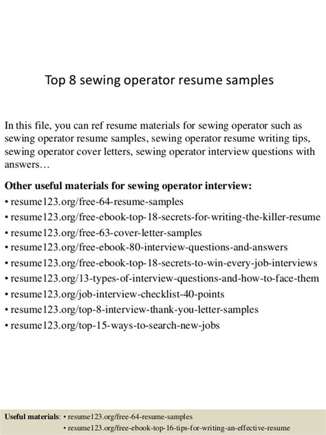 Sewing Machine Operator Resume Sle by Top 8 Sewing Operator Resume Sles
