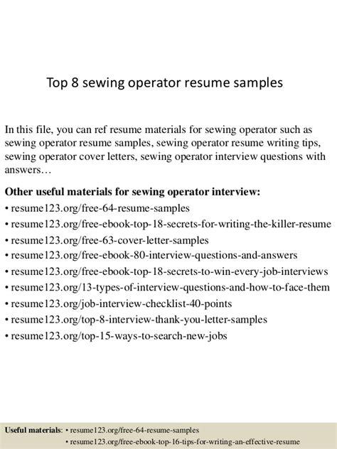 top 8 sewing operator resume sles