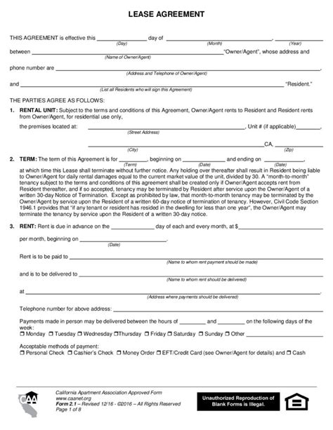 California Lease by California Apartment Association Rental Agreement