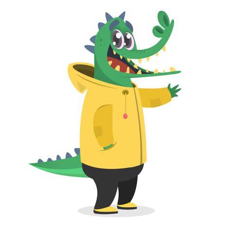 cartoon funny crocodile illustration premium vector