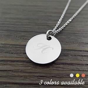 engraved letter circle pendant necklace With engraved letter necklace