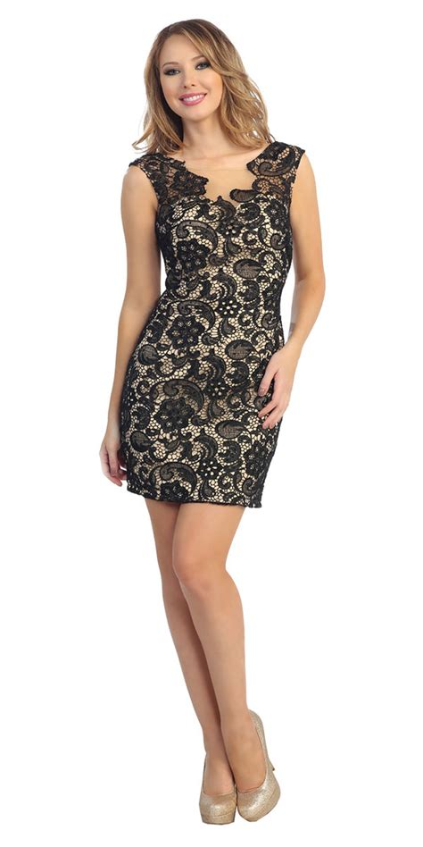 black nude form fitting lace dress special dresses