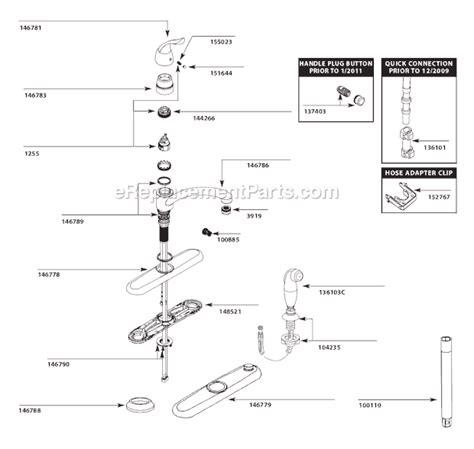 Moen Parts List Diagram Kitchen Faucet