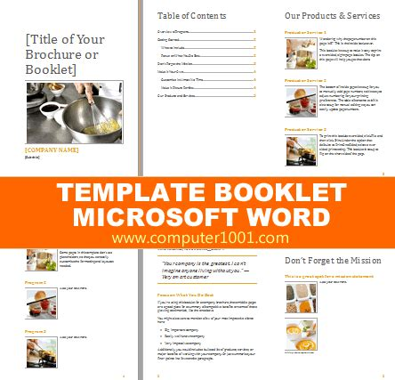 Word 2013 Book Template by 6 Template Booklet Microsoft Word Computer 1001