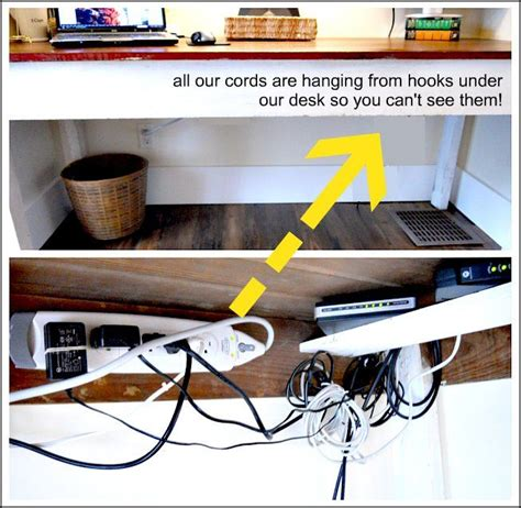 desk that hides wires wires hung on hooks under desk so you can 39 t see them love