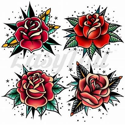 Tattoo Rose Traditional Roses Tattoos Temporary Flash