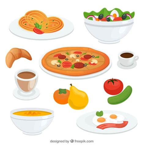 set de cuisine vintage deliciosos platos de comida descargar vectores gratis