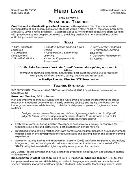 preschool resume samples preschool teacher resume sample monster com
