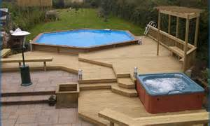 above ground pool deck ideas from wood for relaxation area