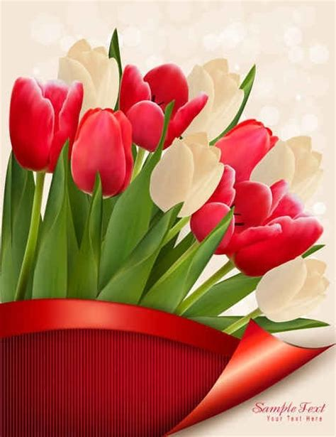 colorful tulips vector flowers  vector  encapsulated