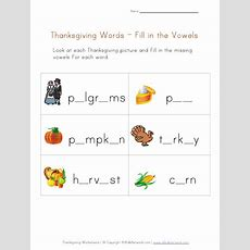Thanksgiving Word Worksheet For Kids  Missing Vowels
