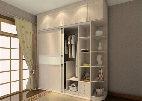 Wooden Wardrobe With Shelves by Sliding Two Door Wardrobe Design With Side Corners Storage