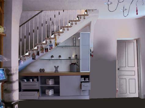 cuisine sous escalier meuble tv sous escalier tendance deco exemples de