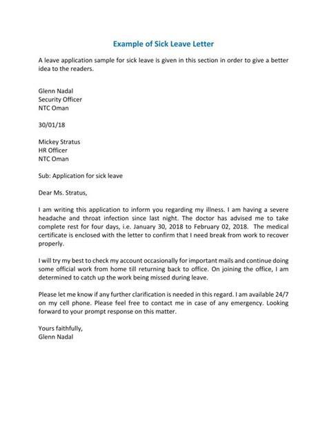 sick leave letter templates   premium