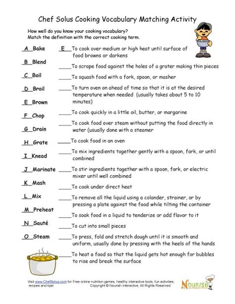 Cooking Vocabulary Definition Matching Exercise