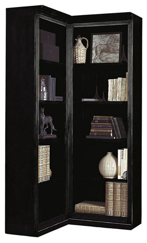 Corner Black Bookcase by Tuscan Corner Bookcase Black Traditional Bookcases
