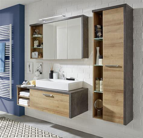 Badezimmermöbel Set Abverkauf by H 228 Nge Hochschrank Bay Eiche Honig Grau Beton