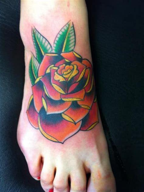 school foot flower tattoo  cesar lopez tattoo