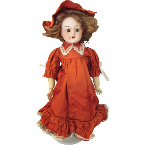 Antique French Bisque Head Doll In Pretty Outfit From