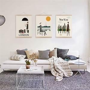 Deco Murale Vintage : salle de s jour decoration murale salon design posters ~ Melissatoandfro.com Idées de Décoration