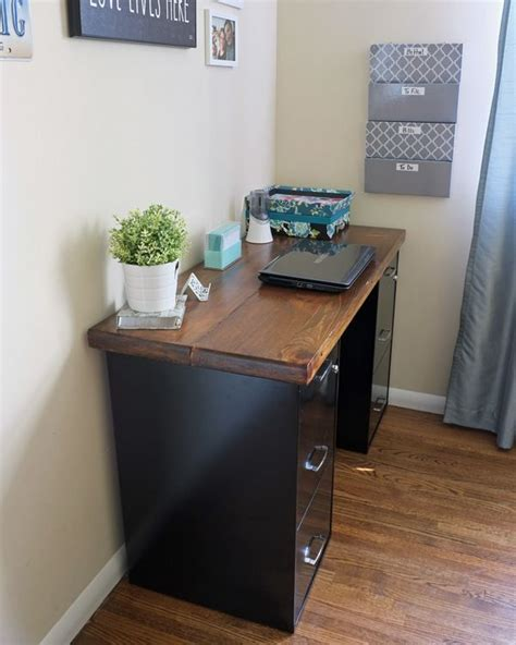 diy corner desk with file cabinets woodworking projects plans