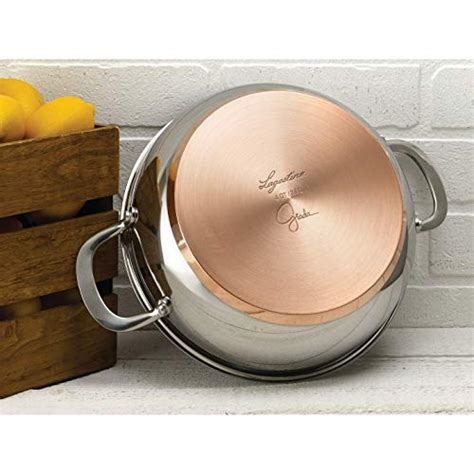 lagostina  giada stainless steel broiler safe covered dutch oven  hammered copper