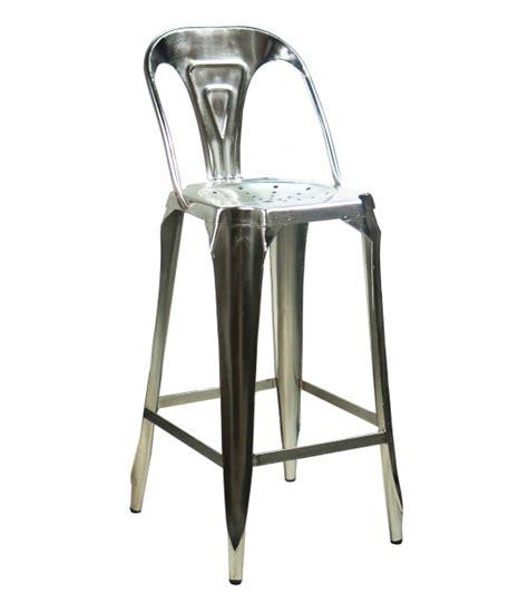 tabouret de bar avec dossier en acier style industriel noir wadiga