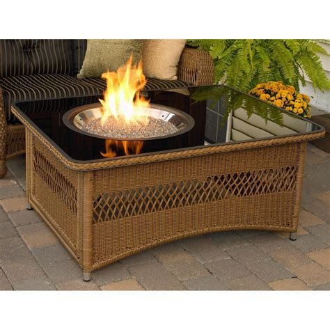 This propane gas fire pit table, for instance, will perfectly complement your outdoor space; Outdoor GreatRoom Company Naples 48 Inch Propane Fire Pit Coffee Table With Black Glass Top ...
