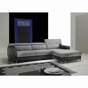 Canapé D Angle Cuir Gris : canap d 39 angle cuir et tissu gris fabien angle droite achat vente canap sofa divan ~ Melissatoandfro.com Idées de Décoration