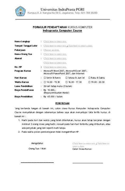 Pdf Formulir Pendaftaran Kursus Komputer Indraprasta