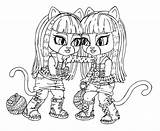 Twins Coloring Cat Monster Getcolorings Twi Getdrawings sketch template