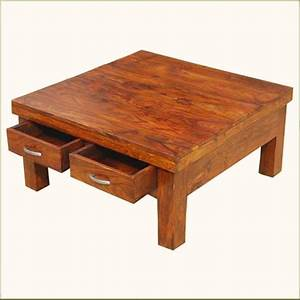 solid wood rustic 4 drawers square storage coffee table With square wood block coffee table