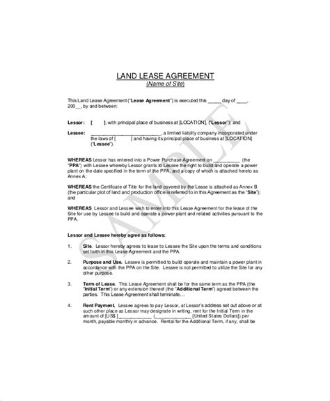 land lease templates  word  format