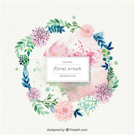 watercolor flowers with leaves wreath ornament vector free