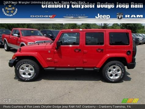 jeep sahara red flame red 2013 jeep wrangler unlimited sahara 4x4