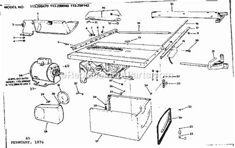 craftsman 10 table saw parts craftsman 113299040 parts list and diagram