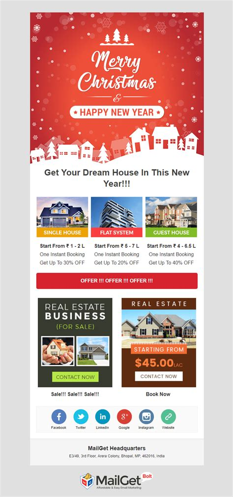 email newsletter templates real estate free download 5 christmas new year holiday email