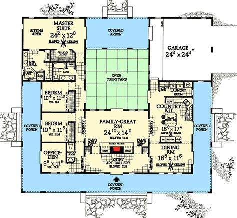central courtyard dream home plan  st floor master suite adobe cad