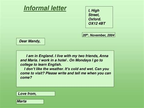 informal letter powerpoint  id