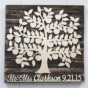 Personalized wedding guest book wooden sign for