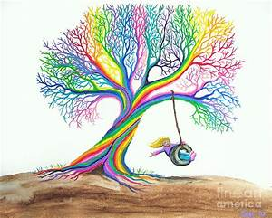 More Rainbow Tree Dreams Painting by Nick Gustafson