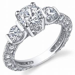 Sterling silver wedding engagement ring with cubic for Sterling silver cubic zirconia wedding rings
