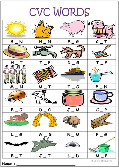 cvc words medial sounds worksheet free esl printable
