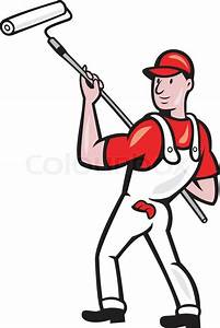 House Painter With Paint Roller Cartoon   Stock Vector ...