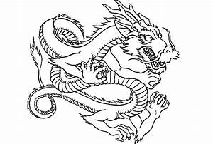 Drawn chinese dragon coloring page - Pencil and in color ...
