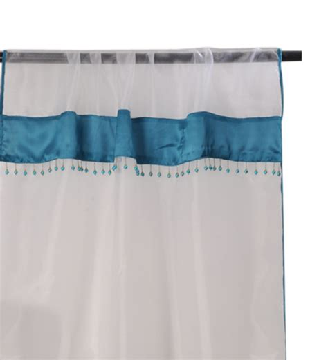 zimmer white with blue lace trim window curtain by zimmer
