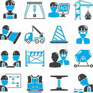 Civil Engineering And Construction Icons In Blue Color Theme