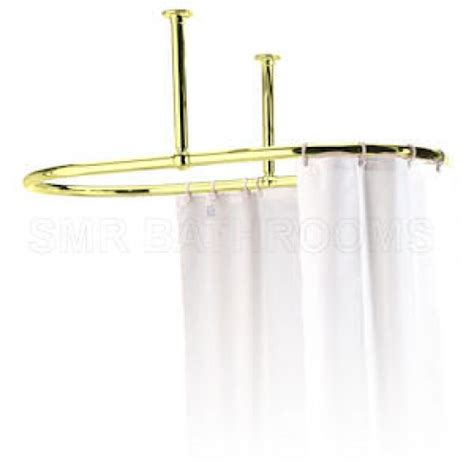 oval shower curtain rail with ceiling fixing in polished