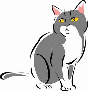 Stylized Gray Cat Clip Art at Clker.com - vector clip art ...