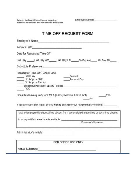 16839 time request forms 40 effective time request forms templates